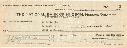 National Bank of Hudson check